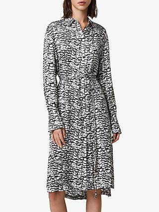 AllSaints Anya Plume Print Dress, Chalk White