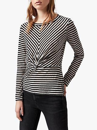 AllSaints Jess Long-Sleeve Stripe Top, Chalk/Ink Blue