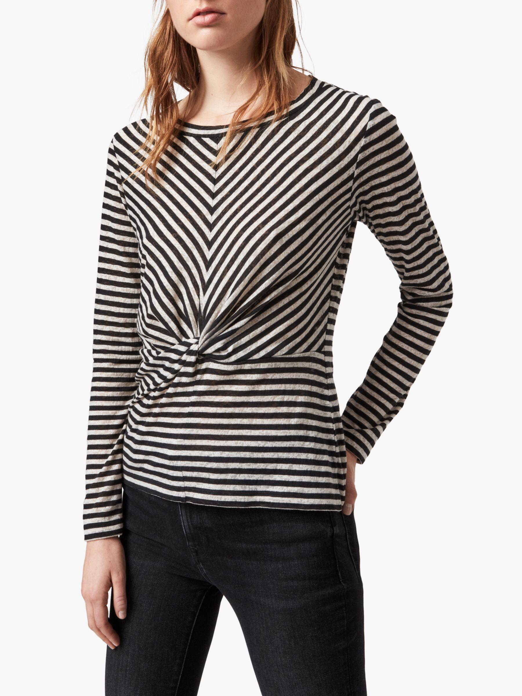 AllSaints AllSaints Jess Long-Sleeve Stripe Top, Chalk/Ink Blue