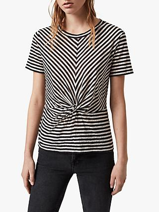 AllSaints Jess Short Sleeve Stripe Top, Chalk/Ink Blue