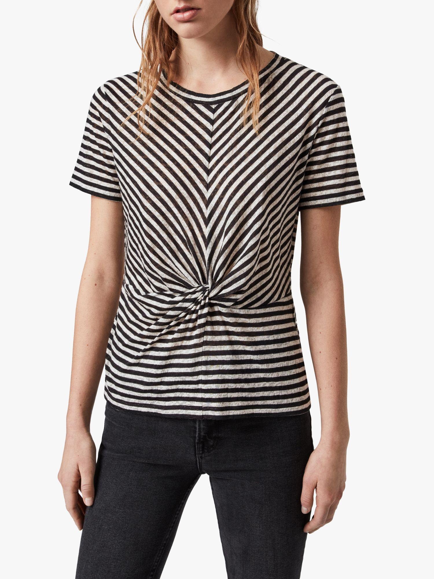 AllSaints AllSaints Jess Short Sleeve Stripe Top, Chalk/Ink Blue