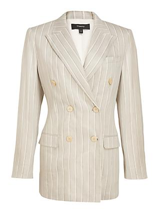 Theory Double Breasted Striped Tailored Blazer, Grey/Multi