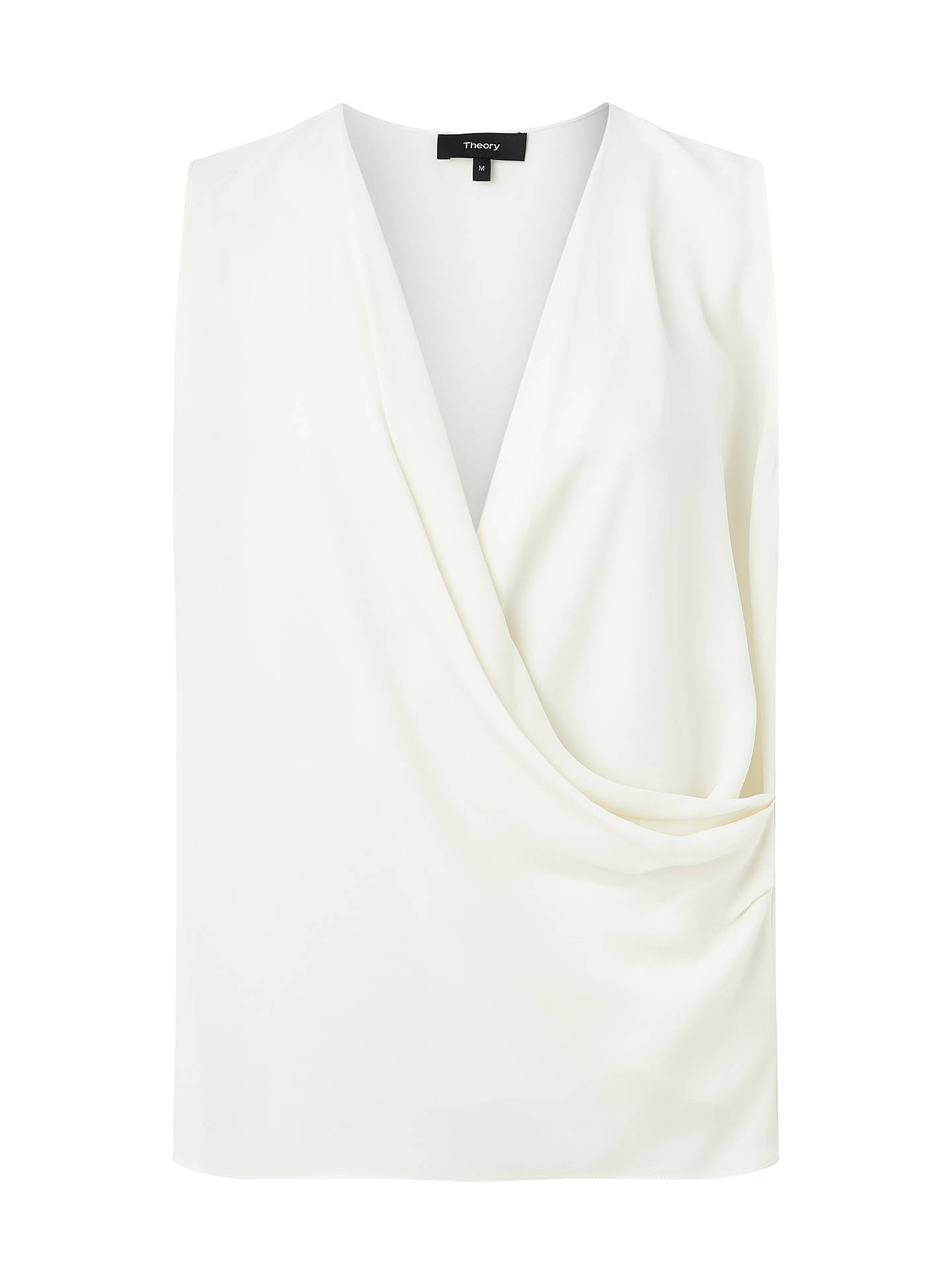 Buy Theory Draped Silk Shell Top, Ivory, XL Online at johnlewis.com