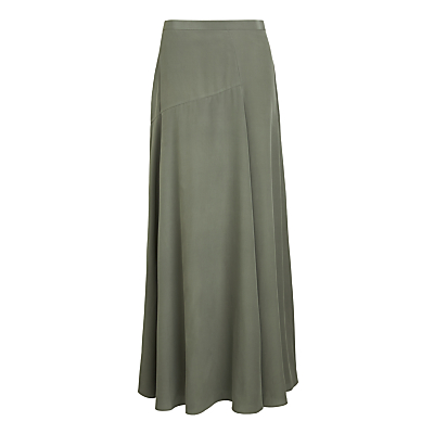 Theory Asymmetric Silk Skirt, Pale Green