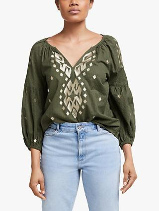 Velvet by Graham & Spencer Embroidered Aztec Top, Olive