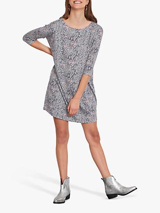 hush Iris T-Shirt Dress, Grey Snake Print