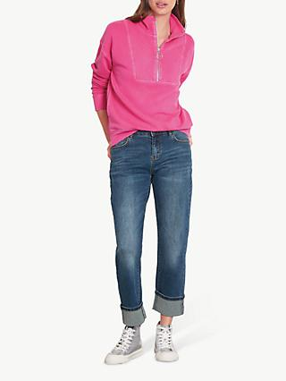 hush Zip Up Sweatshirt, Bright Pink