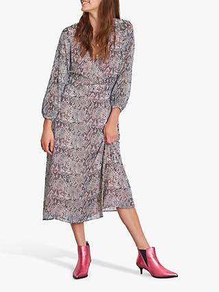 hush Lucia Snake Print Wrap Dress, Grey