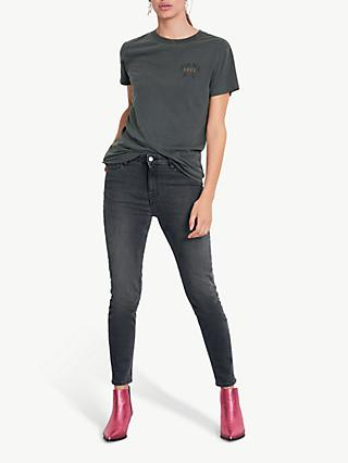 hush Rosanna Love Tee, Washed Black