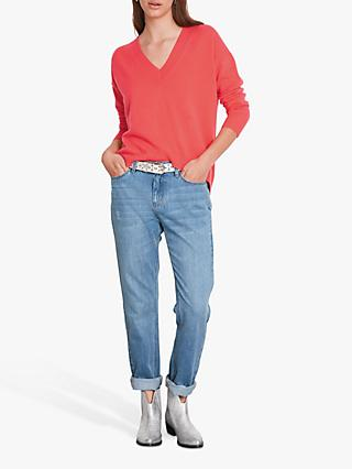hush Gemma Cashmere V-Neck Jumper, Grapefruit