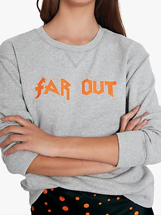 hush Far Out Slogan Sweat Top, Grey Marl/Orange