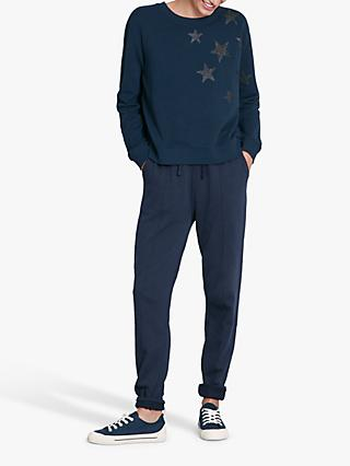 hush Stars Zipper Cotton Sweat Top, Midnight/Gunmetal