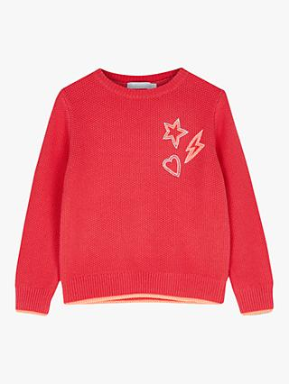 Mintie by Mint Velvet Embroidered Girl's Jumper, Red/Multi