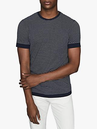 Reiss Ray Stripe Short Sleeve T-Shirt, Navy/White