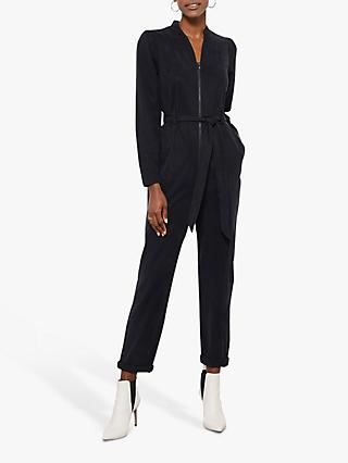 Mint Velvet Puff Sleeve Boilersuit, Black