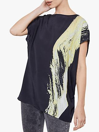 Mint Velvet Megan Print Cocoon Top, Black/Yellow
