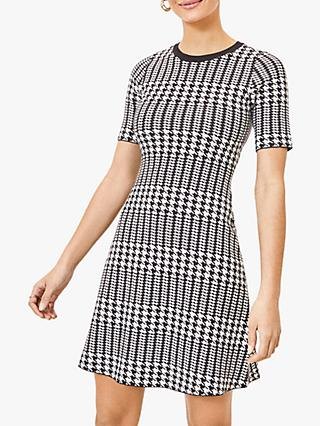 Oasis Dogtooth Shift Dress, Black/White