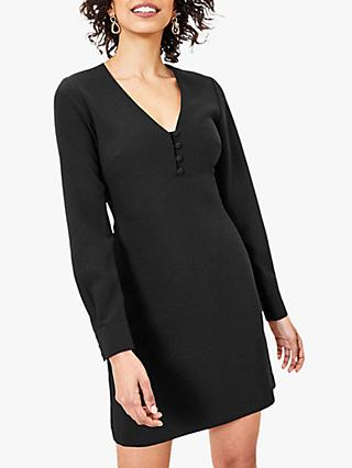 Oasis Button Shift Dress, Black