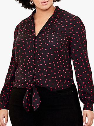 Oasis Curve Heart Print Tie Front Shirt