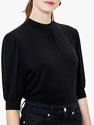 Oasis Balloon Sleeve Turtle Neck Top, Black