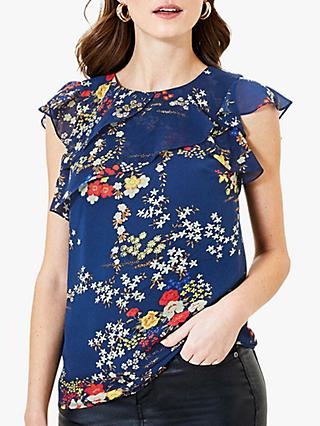 Oasis Floral Frill Top, Blue/Multi