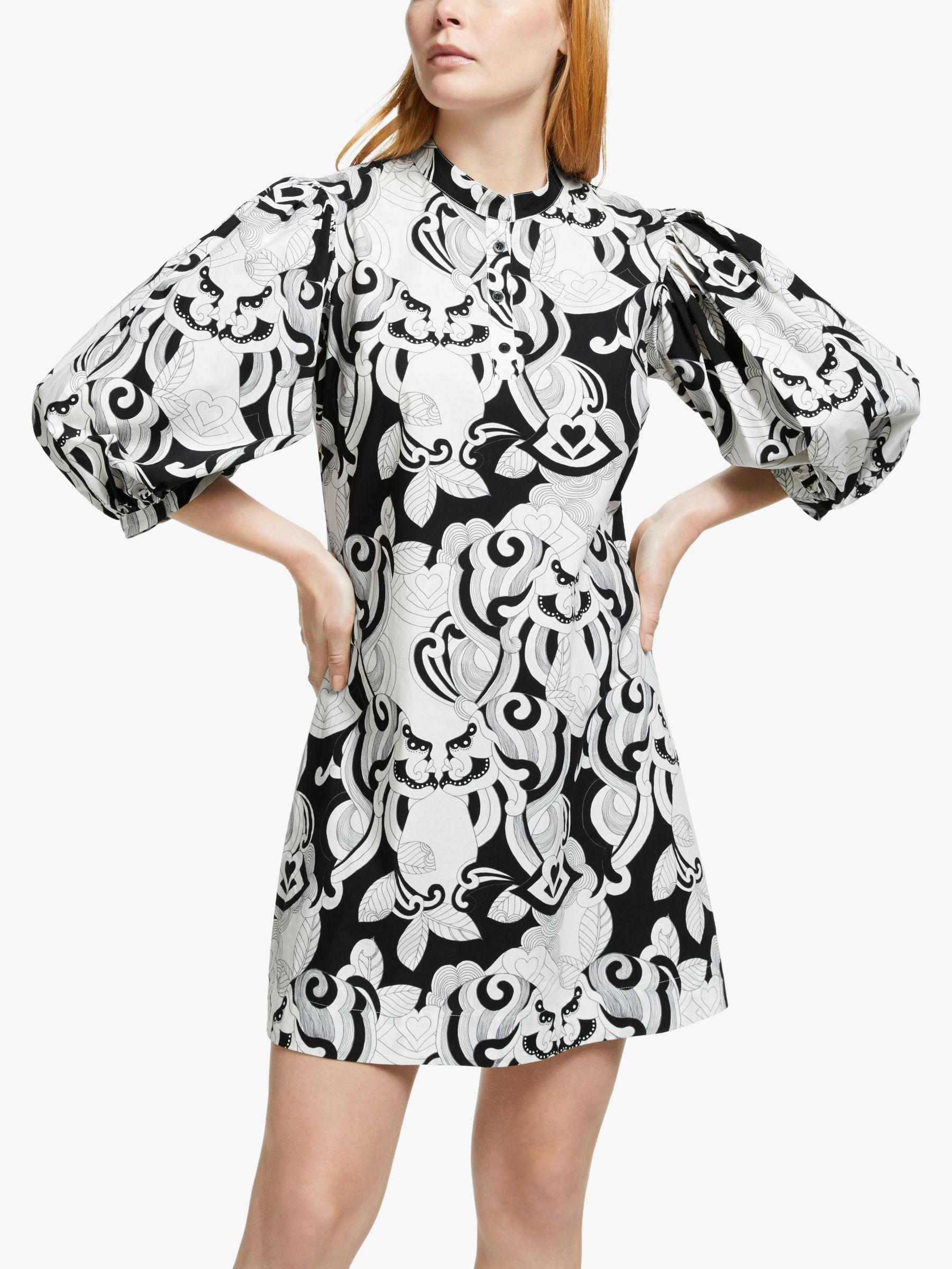 See By Chloé Printed Poplin Dress, Black/White at John Lewis ...