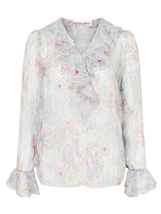 See By Chloé Floral Print Silk Rich Ruffle Blouse, Multi