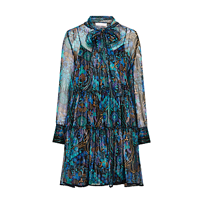 See By Chloé Floral Print Silk Rich Ruffle Tiered Dress, Multi