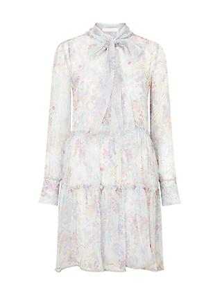 See By Chloé Floral Print Silk Rich Ruffle Tiered Dress, Grey/Multi