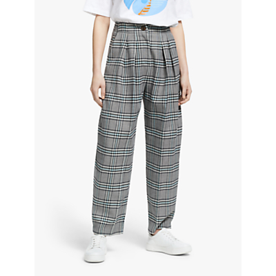 See By Chloé Pleat Check Trousers, Blue/Multi