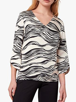 Jaeger Linear Print Blouse, Black