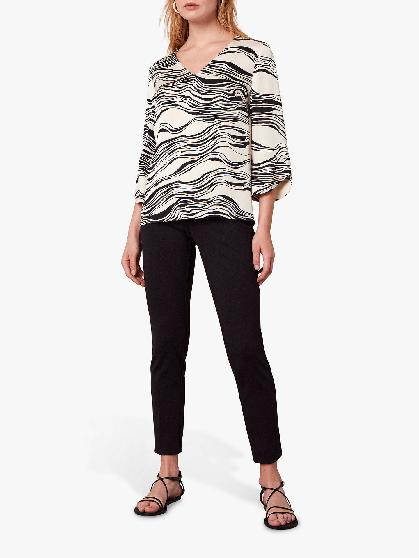 Buy Jaeger Linear Print Blouse, Black, 18 Online at johnlewis.com