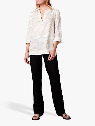 Jaeger Collared Linear Print Linen Tunic Top, White
