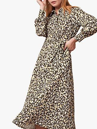 Jaeger Volume Leopard Print Shirt Dress, Yellow/Multi