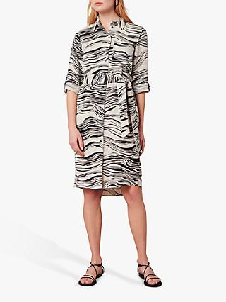 Jaeger Linear Belted Linen Shirt Dress, White