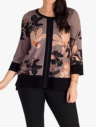 chesca Slinky Floral Zipped Jersey Top, Mocha/Multi