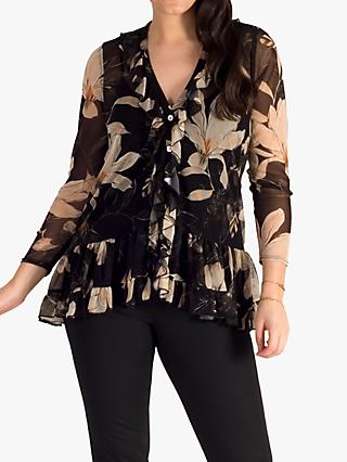 chesca Floral Frilly Blouse, Black/Multi