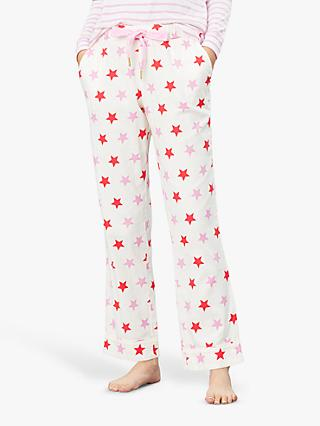 Joules Star Print Cotton Pyjama Bottoms, Cream