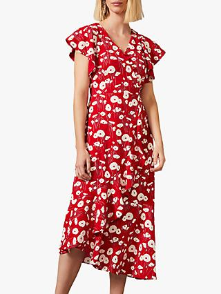 Phase Eight Veronica Floral Ruffle Detail Asymmetric Hem Midi Dress, Scarlet/Cream