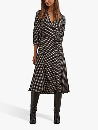 Gerard Darel Sandra Spot Midi Dress, Black