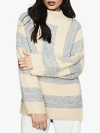 Reiss Astrid Striped Oversized Jumper, Cream