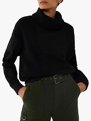 Warehouse Rib Roll Neck Sweatshirt, Black