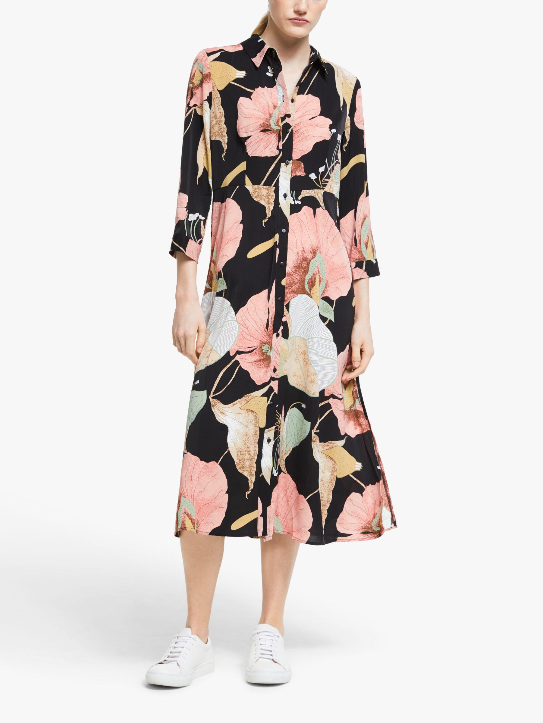Y.a.s Y.A.S Bloomy Floral Midi Shirt Dress, Black/Multi