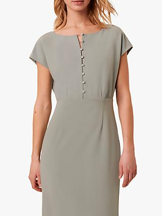 French Connection Boh Whisper Button Front Dress, Silver Blue