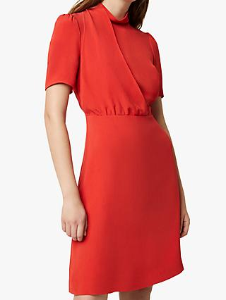 French Connection Hadiya Drape Skater Dress, Margot Red