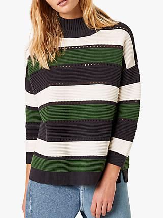 French Connection Liliya Stripe Cutout Jumper, Utility Blue/Multi