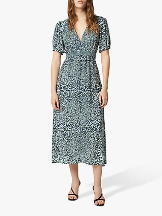 French Connection Cade Spot Print Drape Button Front Midi Dress, Forest Green/Multi
