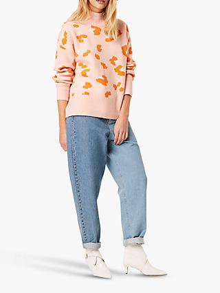 French Connection Louella Leopard Print Jumper, True Blossom/Multi