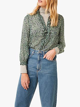 French Connection Cade Animal Crinkle Ruffle Neck Blouse