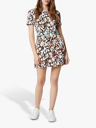 French Connection Enid Floral Print Mini Dress, Jaffa Orange/Multi